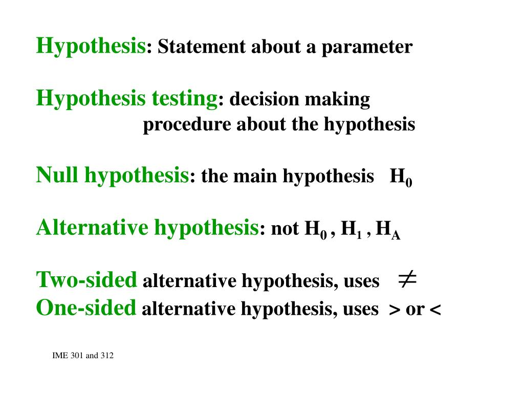 ppt hypothesis statement about a parameter hypothesis testing