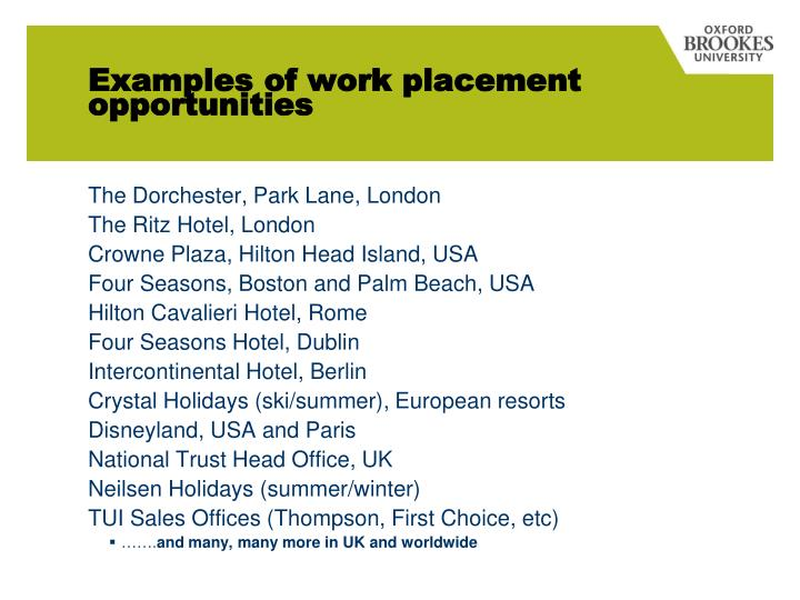 Examples of work placement opportunities