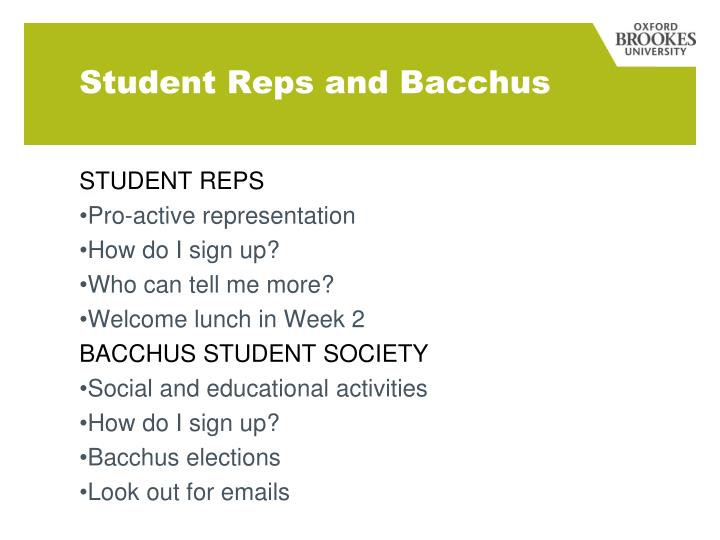 Student Reps and Bacchus