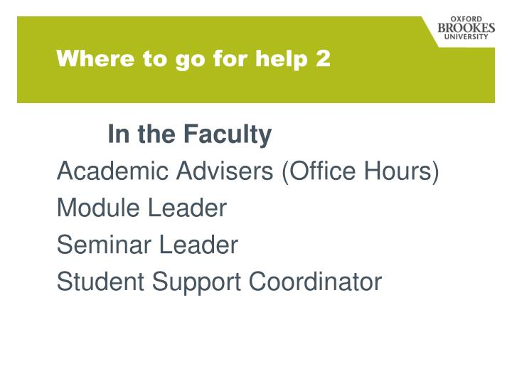 Where to go for help 2