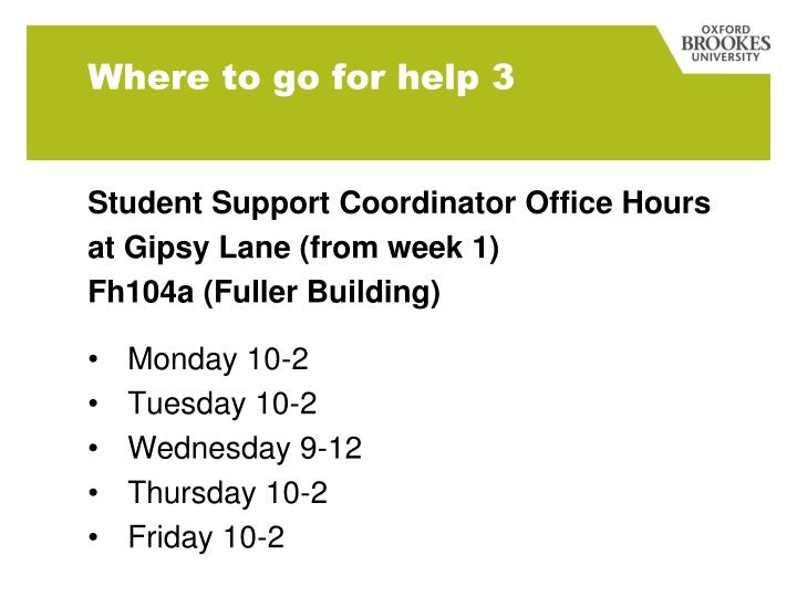 Student Support Coordinator Office Hours