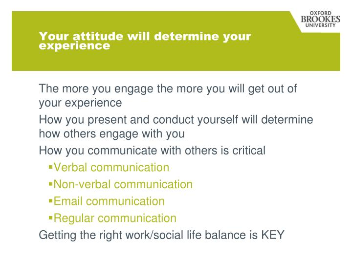 Your attitude will determine your experience