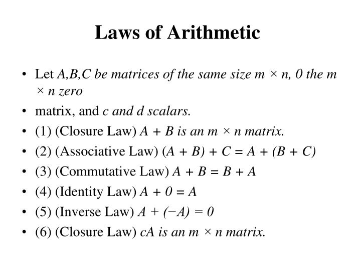 Laws of Arithmetic