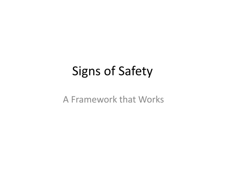 signs of safety framework