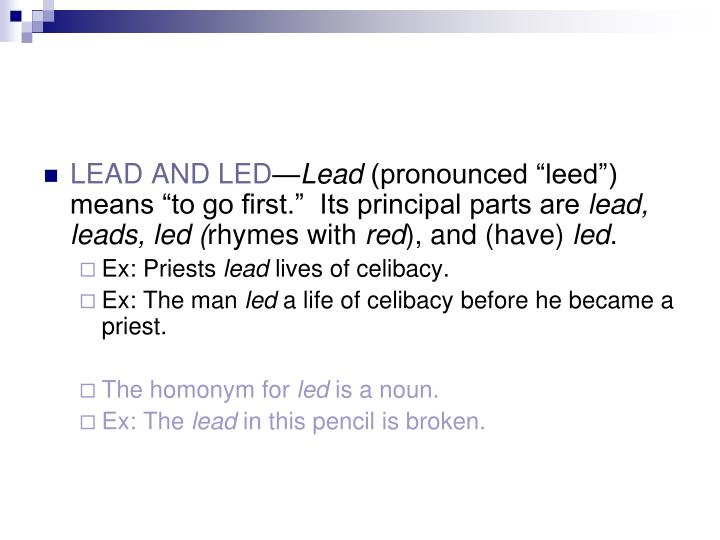 LEAD AND