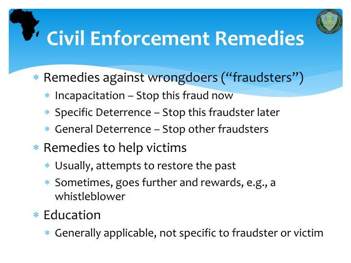 Civil enforcement remedies