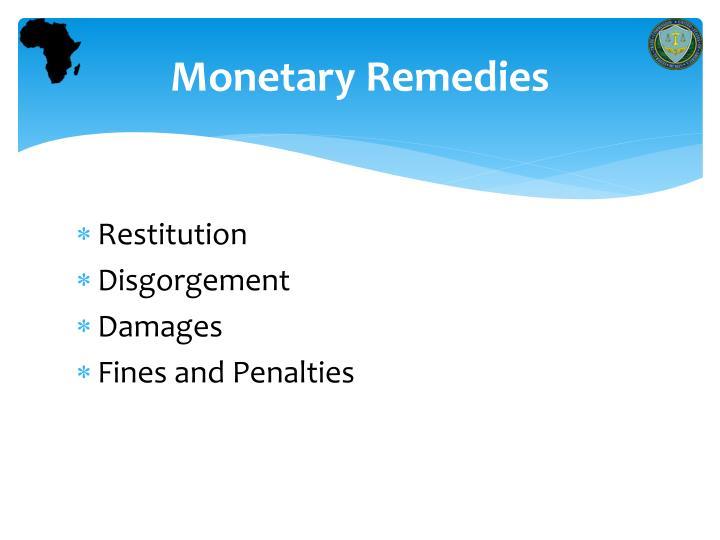 Monetary Remedies