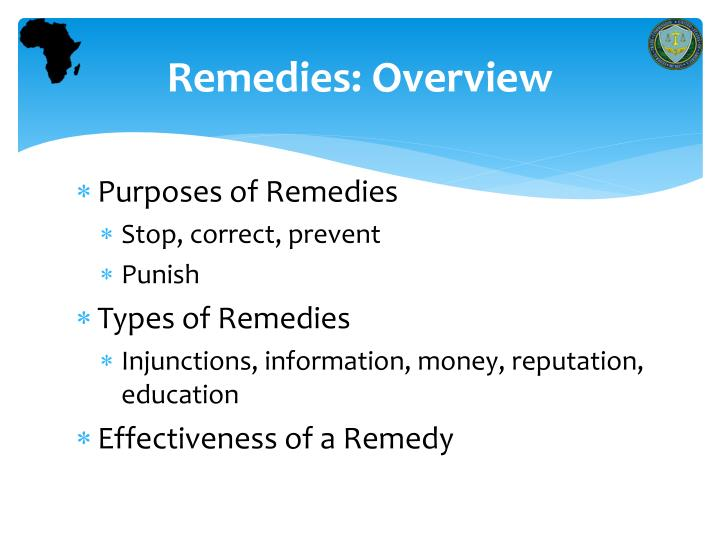 Remedies overview