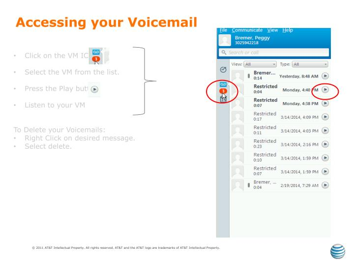 Accessing your Voicemail