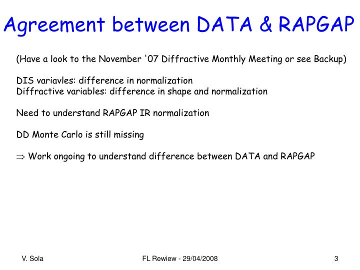 Agreement between data rapgap