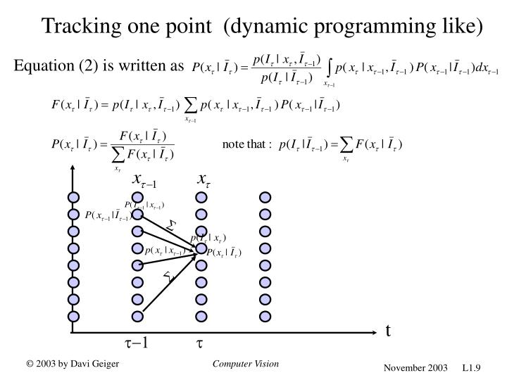 Tracking one point  (dynamic programming like)