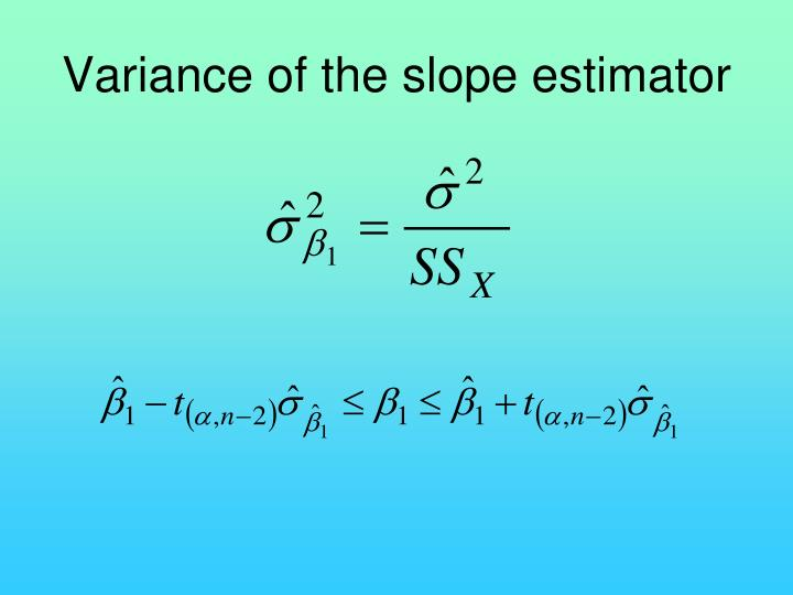 Variance of the slope estimator