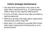 caloric energy maintenance