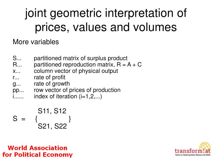joint geometric interpretation of prices, values and volumes