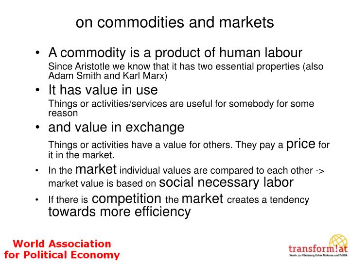 on commodities and markets