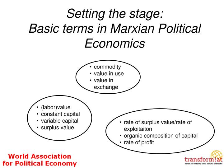 Setting the stage basic terms in marxian political economics