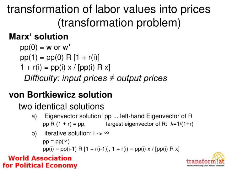 transformation of labor values into prices (transformation problem)