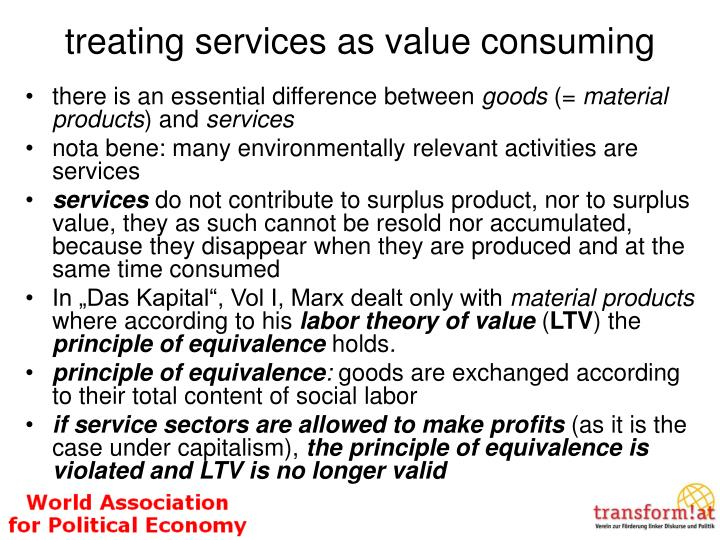 treating services as value consuming