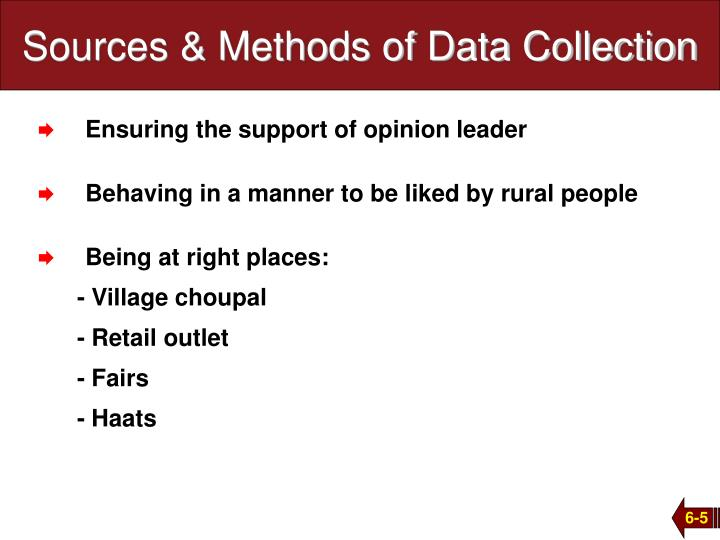 Sources & Methods of Data Collection
