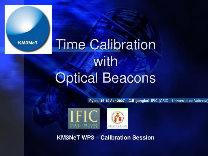 time calibration with optical beacons n.