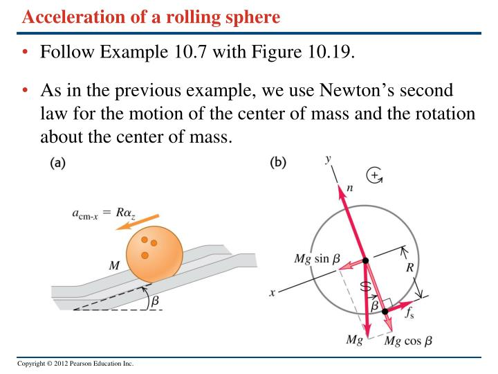 Acceleration of a rolling sphere