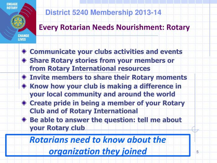 Every Rotarian Needs Nourishment: Rotary