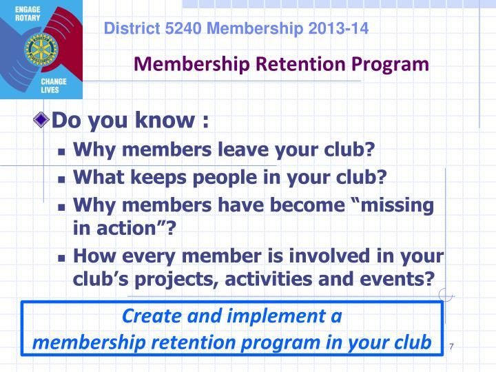 Membership Retention Program