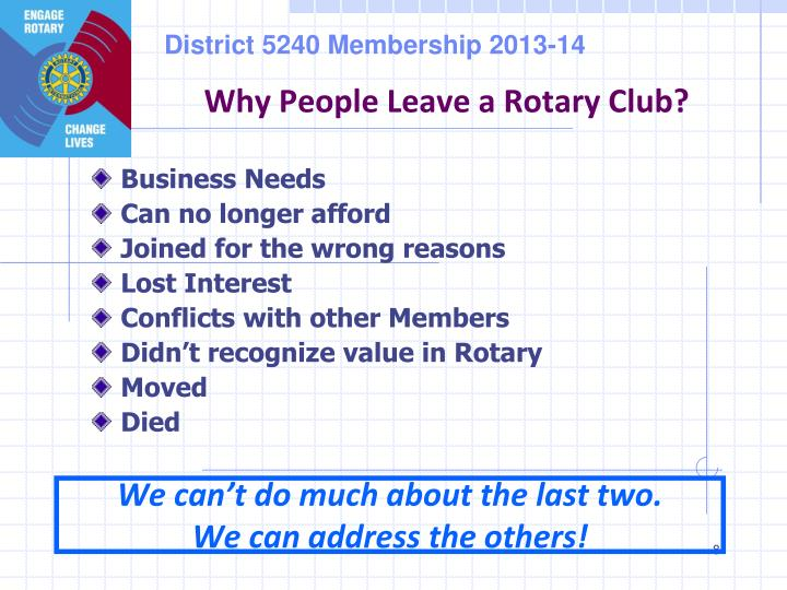 Why People Leave a Rotary Club?