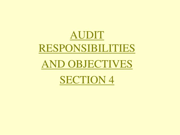 audit responsibilities and objectives section 4 n.