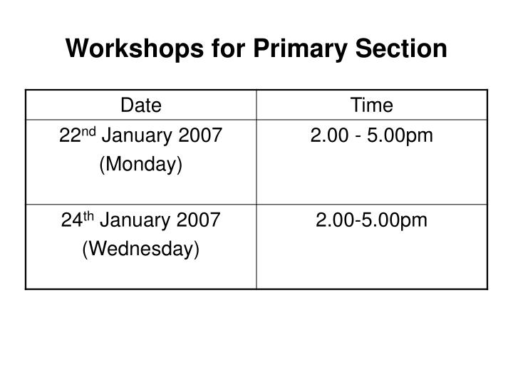 Workshops for Primary Section