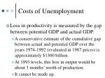 costs of unemployment