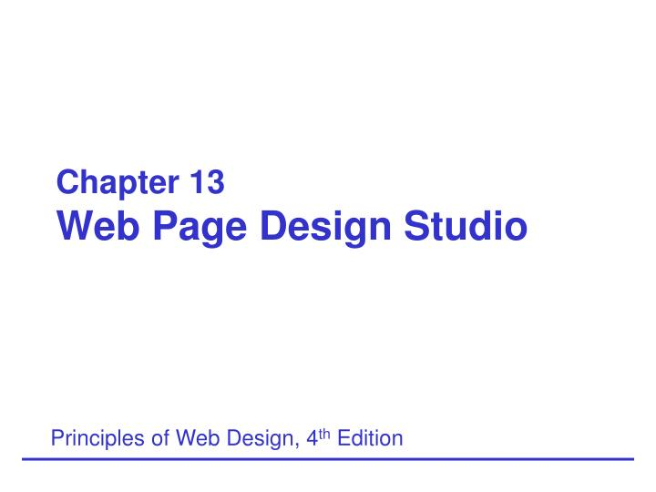 chapter 13 web page design studio n.