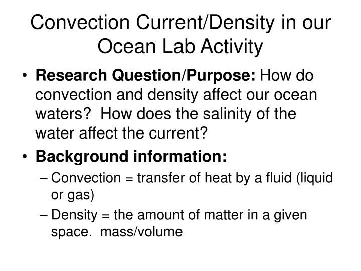 Convection current density in our ocean lab activity