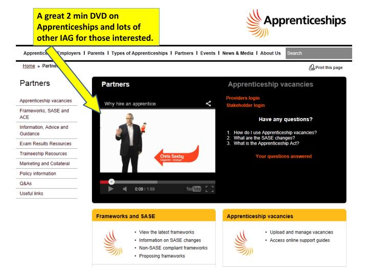 A great 2 min DVD on Apprenticeships and lots of other IAG for those interested.