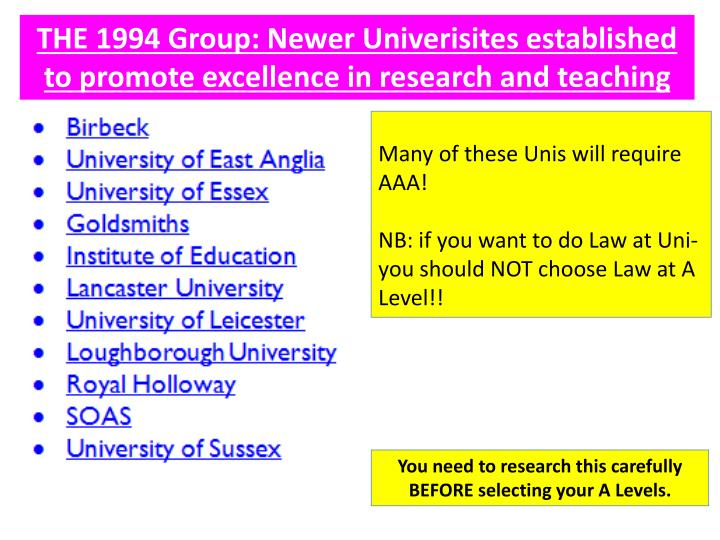 THE 1994 Group: Newer Univerisites established to promote excellence in research and teaching