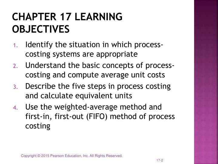 objectives of process costing