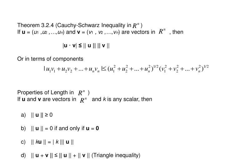 Theorem 3.2.4 (Cauchy-Schwarz Inequality in      )