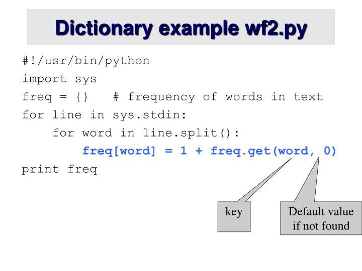 Dictionary example wf2.py