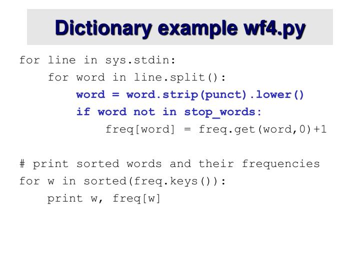 Dictionary example wf4.py