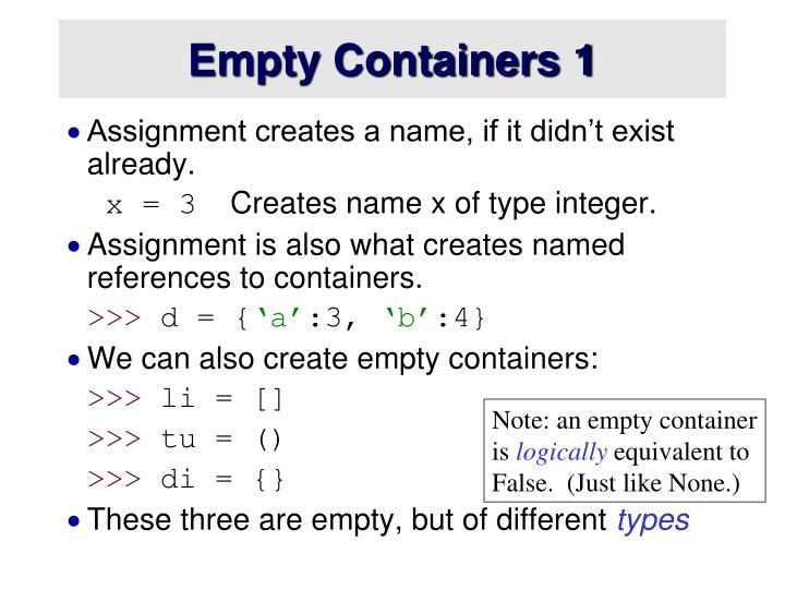 Empty Containers 1