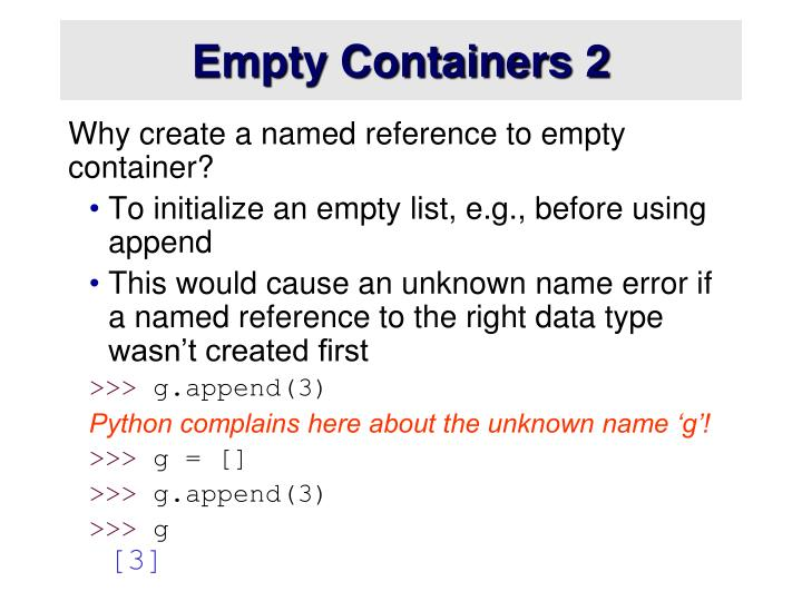 Empty Containers 2