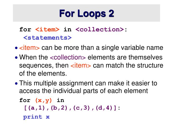 For Loops 2