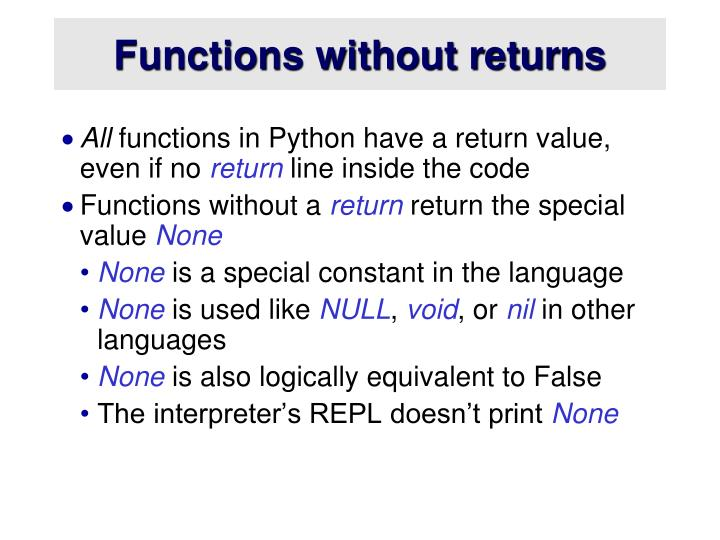 Functions without returns