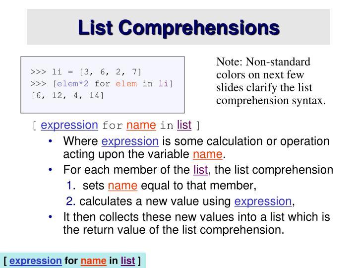 List Comprehensions