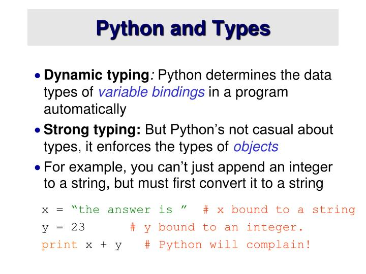 Python and Types
