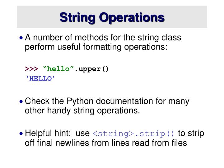 String Operations