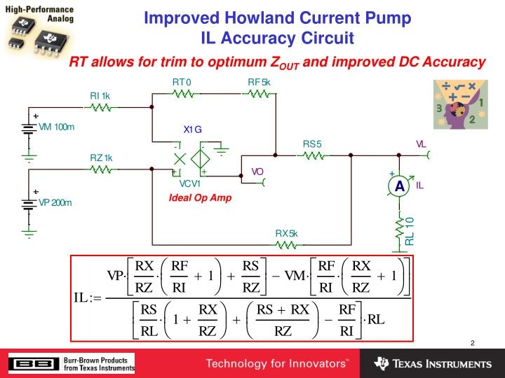 Improved howland current pump il accuracy circuit