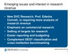 emerging issues and interest in research revenue