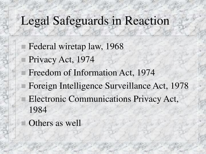 Legal Safeguards in Reaction