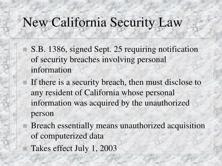 New California Security Law